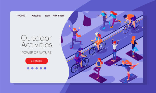 Healthy lifestyle design web page template. People in city park making morning exersises, cycling, running. Isometric flat illustration Healthy lifestyle design web page template. People in city park making morning exersises, cycling, running. Isometric flat illustration community drawings stock illustrations