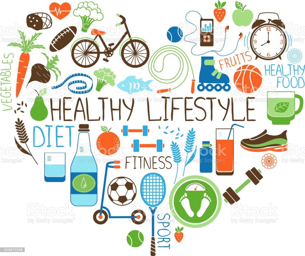 Healthy Lifestyle  Diet and Fitness Heart sign vector art illustration