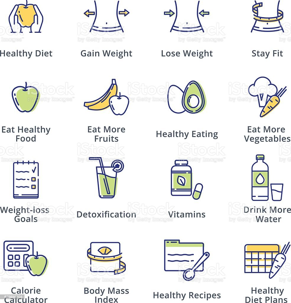 Healthy Lifestyle - Dieting Icons - Outline Series vector art illustration