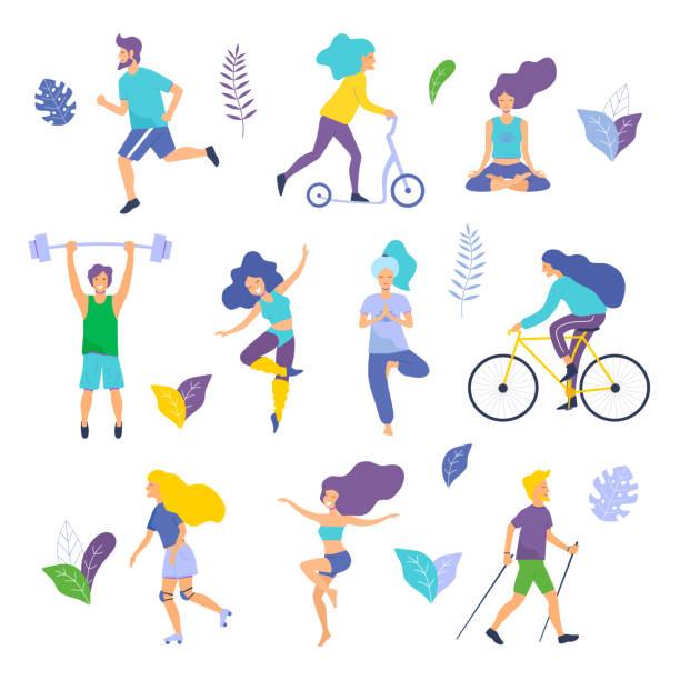 illustrazioni stock, clip art, cartoni animati e icone di tendenza di healthy lifestyle. different physical activities: running, roller skates, dancing, bodybuilding, yoga, fitness, scooter, nordic walking. - esercizio fisico