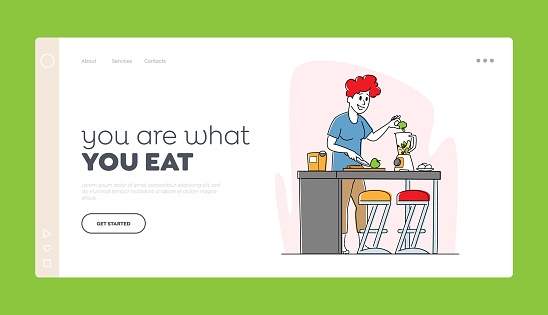 Healthy Lifestyle, Eco Food Eating Landing Page Template. Vegan Woman Cook Smoothie Put Apple and Broccoli in Juicer