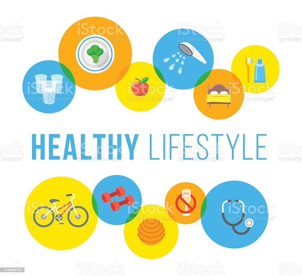 Healthy lifestyle flat vector concept - ilustración de arte vectorial