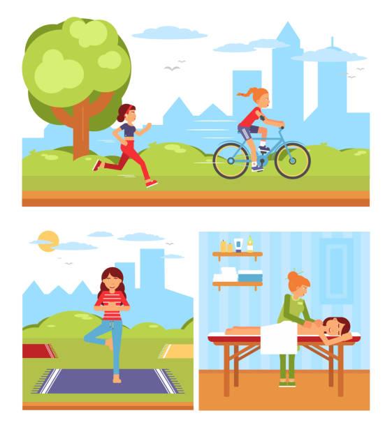 ilustrações de stock, clip art, desenhos animados e ícones de healthy lifestyle flat vector illustrations pack - young woman running city
