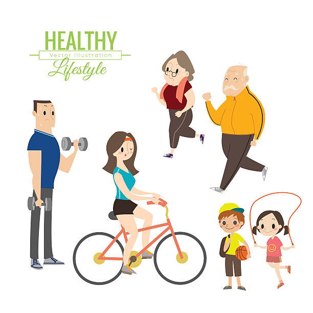 healthy lifestyle happy family exercising - old man on bike stock illustrations, clip art, cartoons, & icons