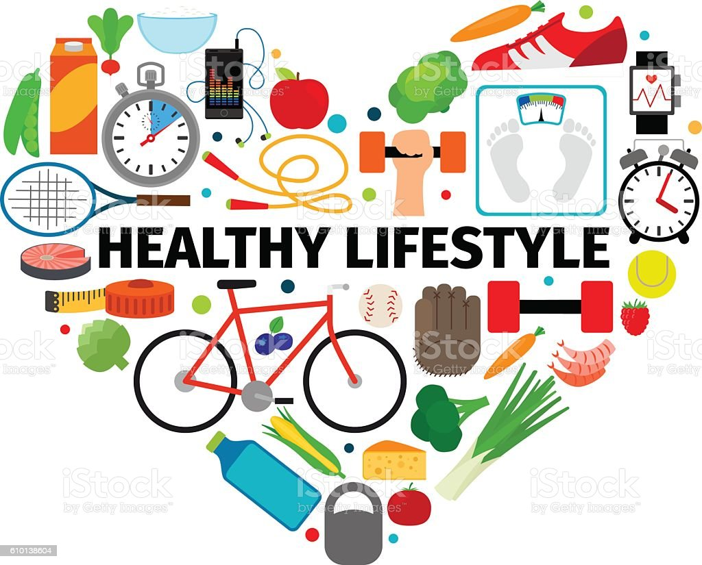 Healthy Lifestyle Heart Emblem Stock Vector Art & More ...