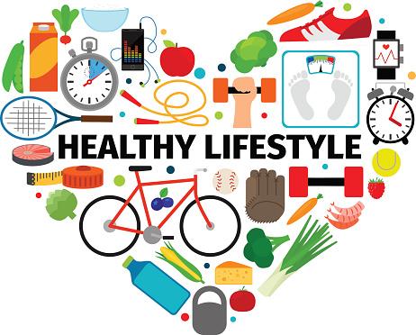 Healthy lifestyle heart emblem