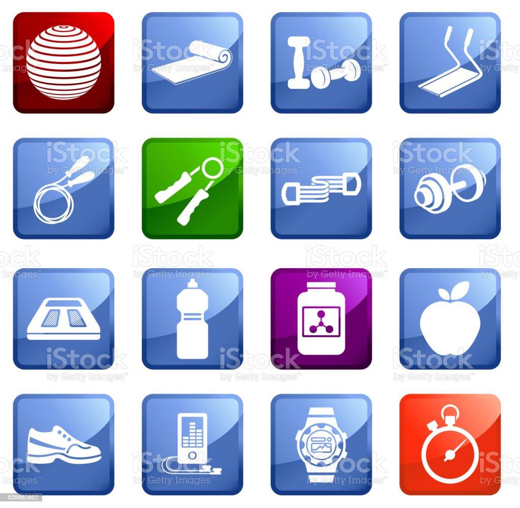 Healthy Lifestyle icon set on white background. vector art illustration