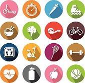 Healthy Lifestyle Icons - Flatdesign