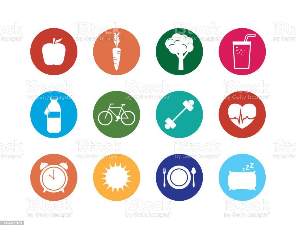 Conjunto de iconos de estilo de vida saludable - ilustración de arte vectorial