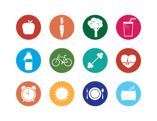 healthy lifestyle icons set - wellness stock illustrations