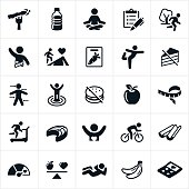 Icons representing healthy habits for a healthy lifestyle. The icons include eating well, exercising, meditating and other symbols associated with healthy living.