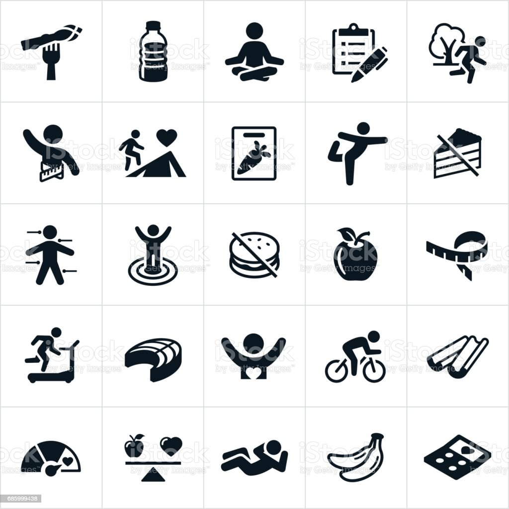 Iconos de estilo de vida saludable - ilustración de arte vectorial