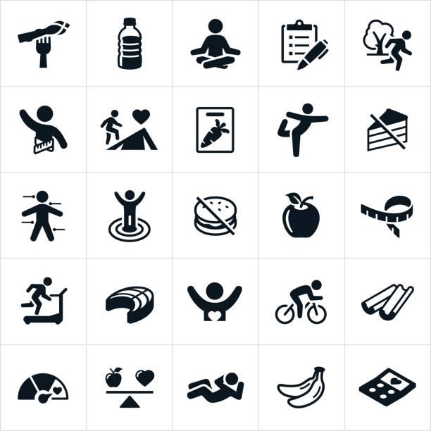 gesunder lifestyle symbole - lachskuchen stock-grafiken, -clipart, -cartoons und -symbole