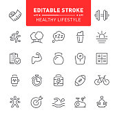 Fitness, icon set, sport, exercising, healthy lifestyle, editable stroke, outline, running, training, yoga, dieting