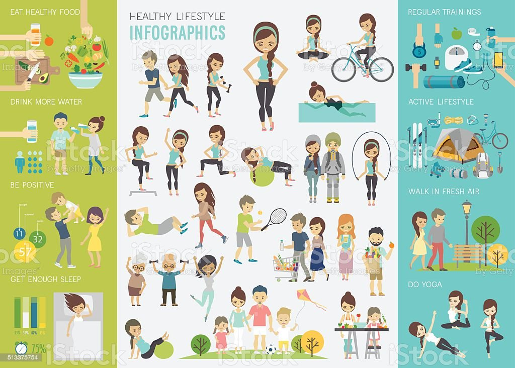 Healthy lifestyle infographic set with charts and other elements. vector art illustration
