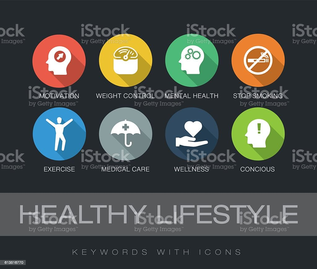 Healthy Lifestyle keywords with icons vector art illustration