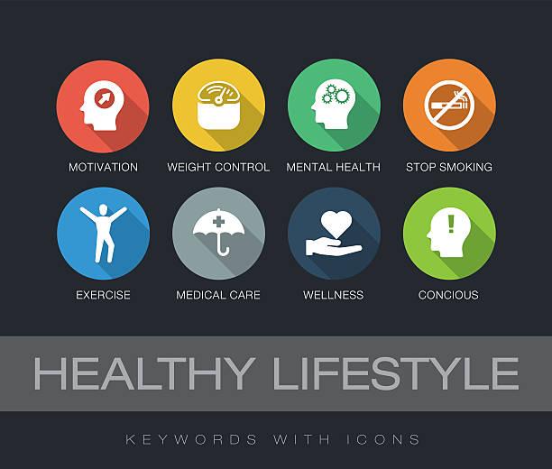 stockillustraties, clipart, cartoons en iconen met healthy lifestyle keywords with icons - geestelijk welzijn
