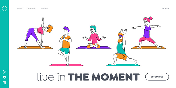 Healthy Lifestyle Landing Page Template. Male and Female Sports Characters Yoga Activity. People Do Sports Exercises Fitness, Workout in Different Poses, Stretching Pilates. Linear Vector Illustration