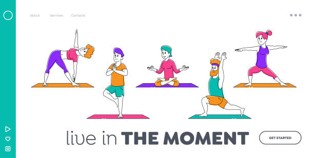 Healthy Lifestyle Landing Page Template. Male and Female Sports Characters Yoga Activity. People Do Sports Exercises Fitness, Workout in Different Poses, Stretching Pilates. Linear Vector Illustration Healthy Lifestyle Landing Page Template. Male and Female Sports Characters Yoga Activity. People Do Sports Exercises Fitness, Workout in Different Poses, Stretching Pilates. Linear Vector Illustration active lifestyle stock illustrations