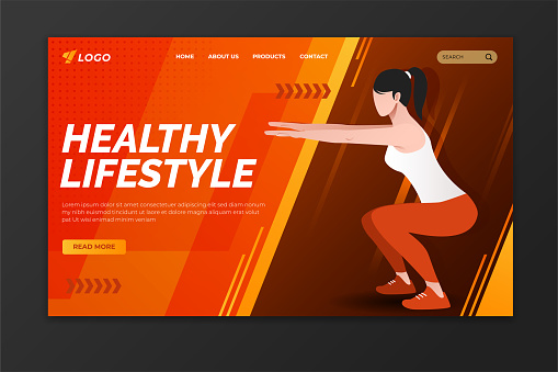 Healthy lifestyle landing page with woman exercising. Sport web page template design for gym, personal trainer and fitness center