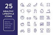 Healthy Lifestyle Vector Style Editable Stroke Line Icon Set