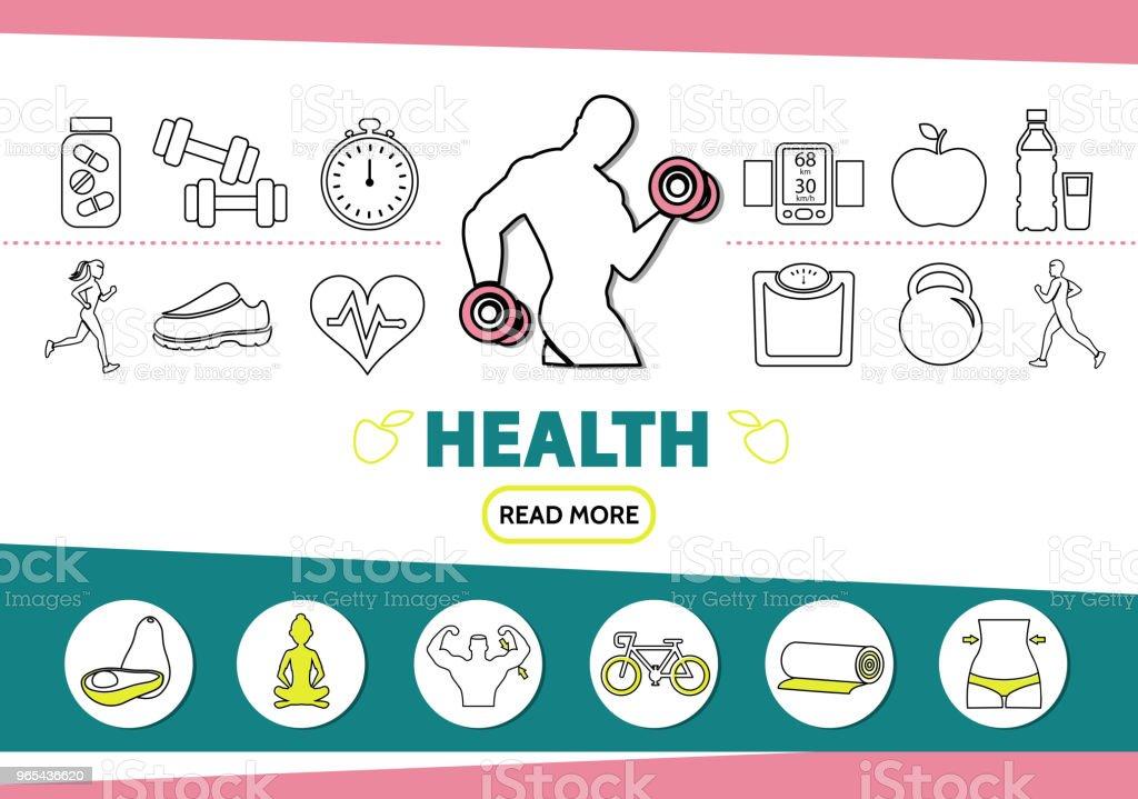 Healthy Lifestyle Line Icons Set healthy lifestyle line icons set - stockowe grafiki wektorowe i więcej obrazów awokado royalty-free