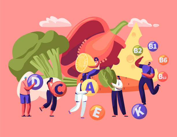 illustrazioni stock, clip art, cartoni animati e icone di tendenza di healthy lifestyle, organic food choice. vitamins in products infographic. fruits, vegetables, cheese and eggs as source of energy and health. vegetarian diet concept. cartoon flat vector illustration - vitamina