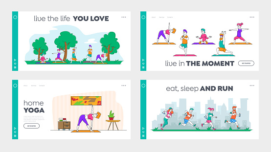 Healthy Lifestyle, Outdoor and Indoor Workout Training Landing Page Template Set. Young People Doing Yoga Exercises, Run Marathon and Stretching at Home and in City Park. Linear Vector Illustration
