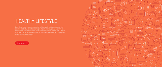 Healthy Lifestyle Related Banner Design with Pattern. Modern Line Style Icons Vector Illustration