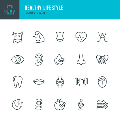 Set of 20 Healthy Lifestyle line vector icons. Human Body, Eye, Spine, Lips, Ear, Nose, Heartbeat and so on
