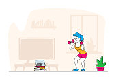 istock Healthy Lifestyle. Sportsman Training at Home front of Television. Woman in Sportswear Workout with Weight, Exercises 1282147591