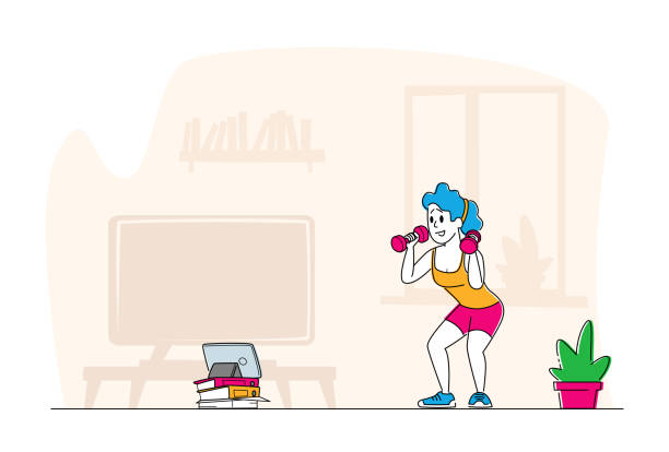 Healthy Lifestyle. Sportsman Training at Home front of Television. Woman in Sportswear Workout with Weight, Exercises Healthy Lifestyle. Sportswoman Training at Home front of Tablet Pc. Female Character in Sportswear Workout with Weight. Bodybuilding Exercise, Fitness Sport Activity. Linear People Vector Illustration active lifestyle stock illustrations