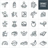 A set of healthy lifestyle icons that include editable strokes or outlines using the EPS vector file. The icons include people exercising, vegetables, Asparagus, water bottle, person meditation, person doing yoga, checklist, person living a healthy life, fitness goals, cutting board, avoidance of unhealthy foods, apple, tape measure, person running on treadmill, salmon, person riding a bicycle, celery, person doing a sit-up, bananas and a calculator to name a few.