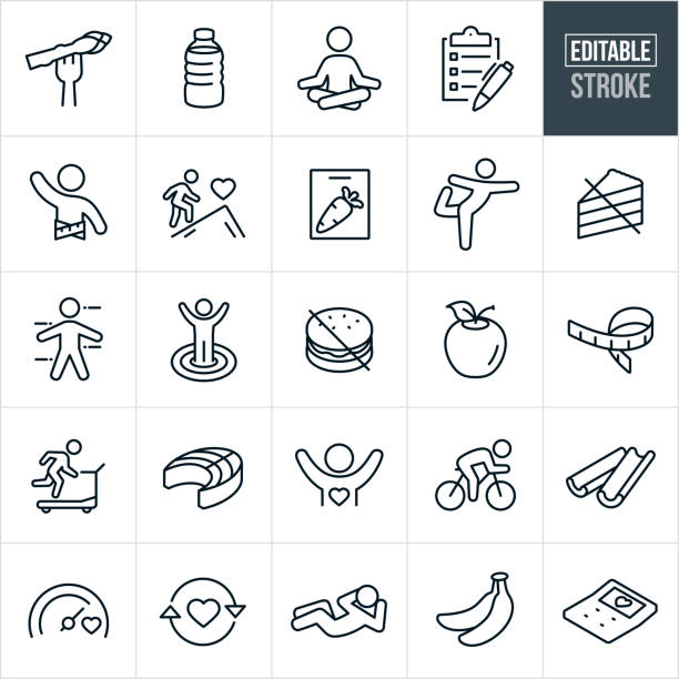 Healthy Lifestyle Thin Line Icons - Editable Stroke A set of healthy lifestyle icons that include editable strokes or outlines using the EPS vector file. The icons include people exercising, vegetables, Asparagus, water bottle, person meditation, person doing yoga, checklist, person living a healthy life, fitness goals, cutting board, avoidance of unhealthy foods, apple, tape measure, person running on treadmill, salmon, person riding a bicycle, celery, person doing a sit-up, bananas and a calculator to name a few. wellbeing stock illustrations