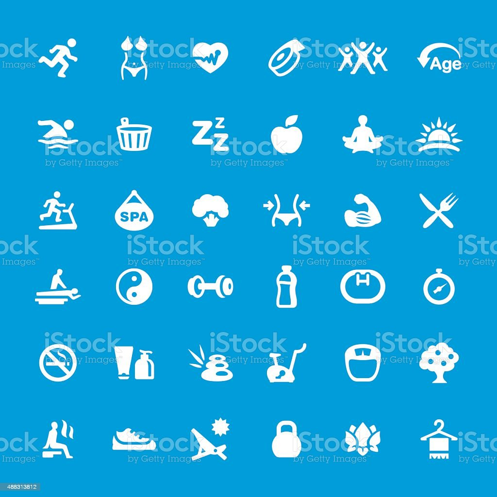 Healthy Lifestyle vector icons set vector art illustration
