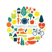 Collection of fitness, fruits & vegetables and well being icons representing healthy living. Flat icon illustration of new year resolutions, self care, lifestyle changes, health and wellness.