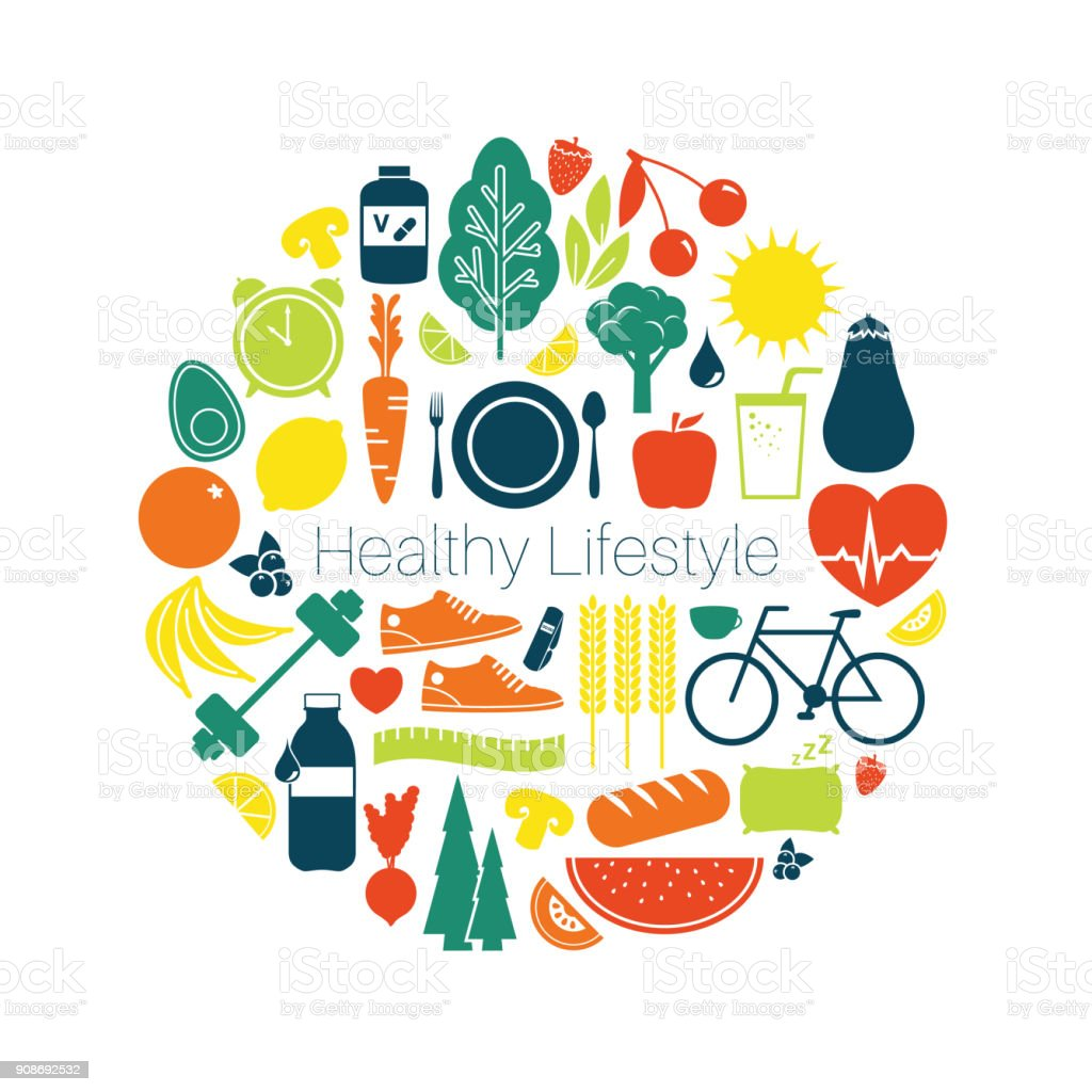 Healthy Lifestyle Vector Icons vector art illustration
