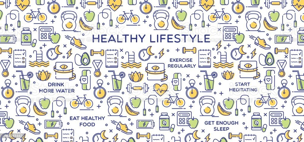 Healthy Lifestyle Vector Illustration, Dieting, Fitness & Nutrition