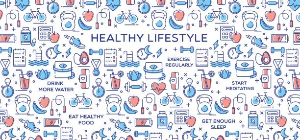 Healthy Lifestyle Vector Illustration, Dieting, Fitness & Nutrition vector art illustration