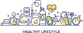 Healthy lifestyle vector illustration, perfect for use in website design, presentations etc.