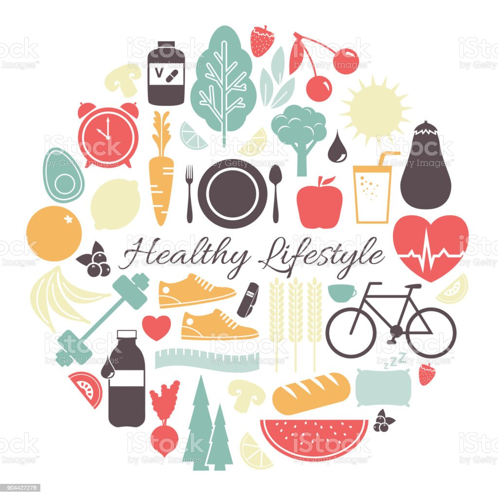 Ilustración de Vector de estilo de vida saludable - ilustración de arte vectorial