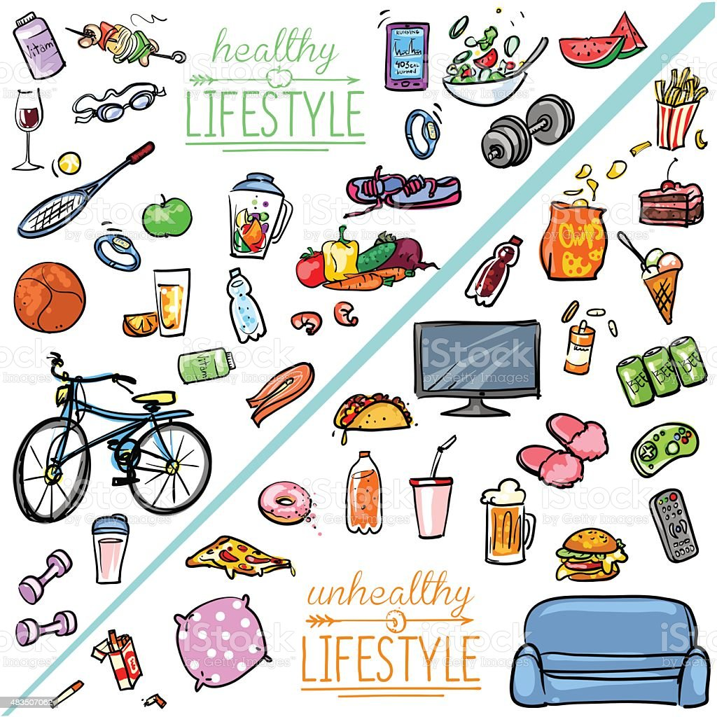 healthy lifestyle vs unhealthy lifestyle stock vector art more images of 2015 483507062 istock. Black Bedroom Furniture Sets. Home Design Ideas