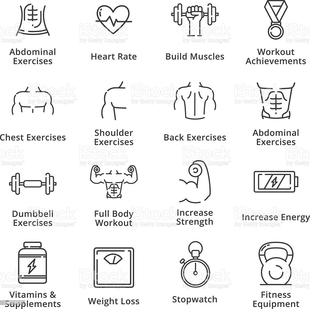 Healthy Lifestyle - Workout Icons - Outline Series vector art illustration