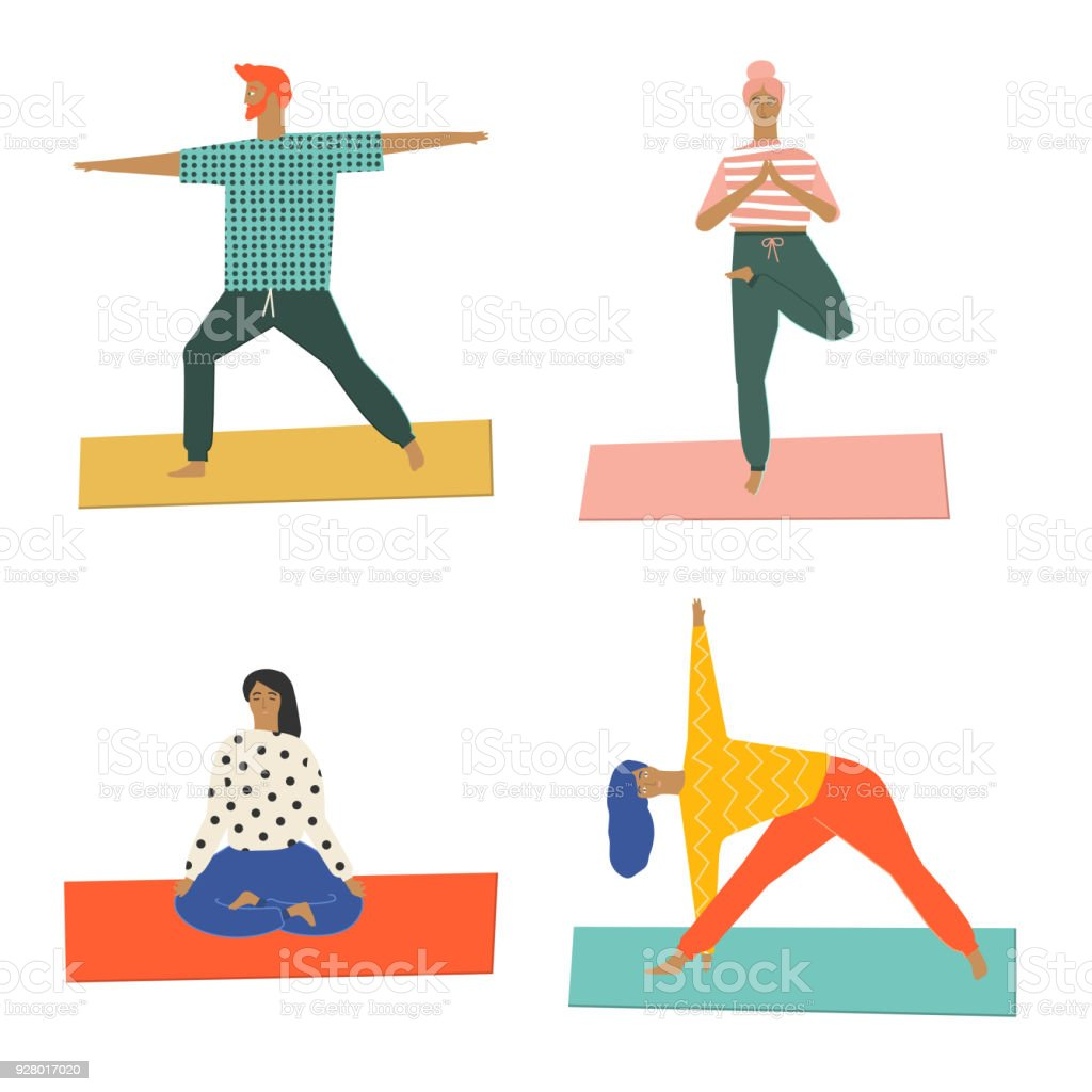 Healthy Lifestyle Yoga Vector Illustration Stock Illustration Download Image Now Istock