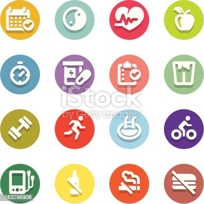 Set of 16 professional healthy lifestyle icons for web applications, web presentation and more. File includes: vector EPS, PNG, JPG.