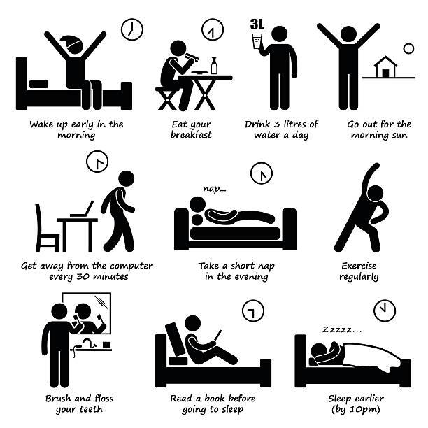 ilustrações de stock, clip art, desenhos animados e ícones de estilos de vida saudáveis rotina diária sugestões stick figura pictograma ícones - eating