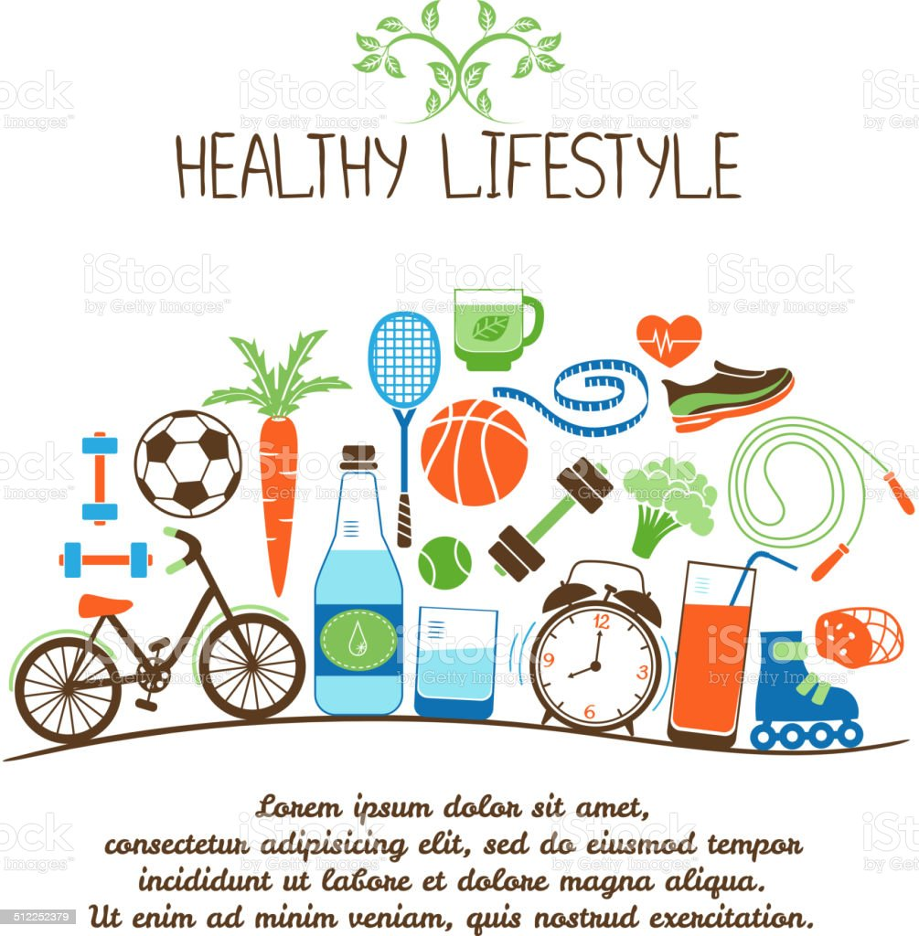 healthy lifestyles vector art illustration