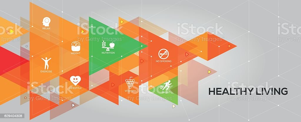 Healthy Living banner and icons vector art illustration