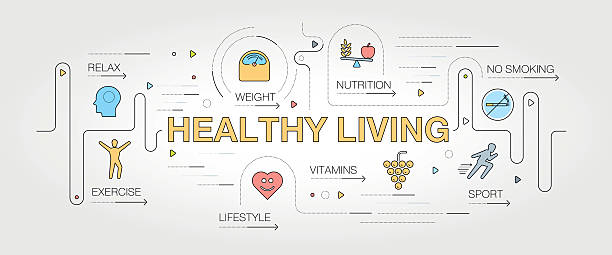 healthy living banner and icons - sports medicine stock illustrations, clip art, cartoons, & icons