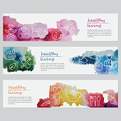 Vector watercolor banners including line icons set depicting healthy lifestyle. List of icons: Meditate; Be a healthy weight; Sleep enough; Manage stress; Be active; Take care for hygiene; Go to nature; Avoid unhealthy habits; Eat sea food; Drink a lot of water; Get check-ups; Eat vegetables; Love yourself; Drink herbal tea; Eat healthy, Eat fruits. Illustration is nicely layered.